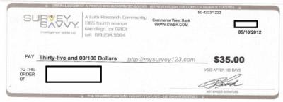 SurveySavvy Surveys Cash Payment Check
