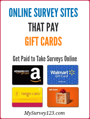This is a list of legit online surveys that pay gift cards, including sites that pay amazon and popular store online/offline gift cards for taking online surveys. https://mysurvey123.com