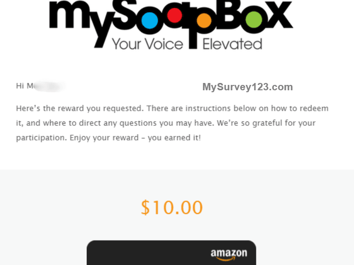 MySoapBox Survey Reward Payment Amazon gift card