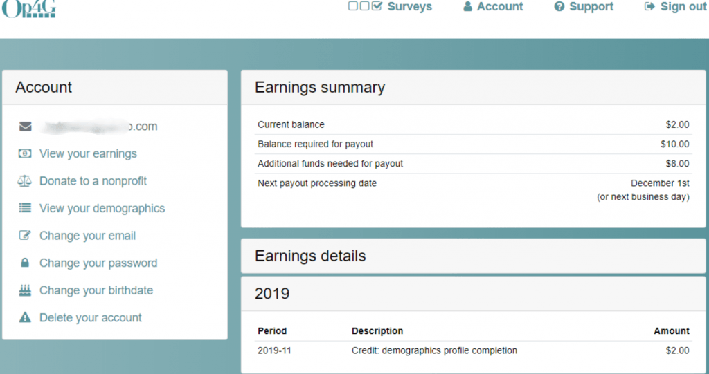 OpinionPlus Survey Account Dashboard