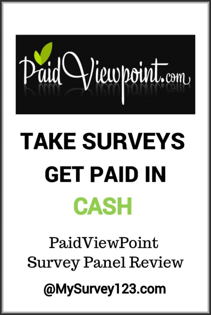 PaidViewPoint Survey Panel - Get paid cash to take surveys online! Review at mysurvey123.com!